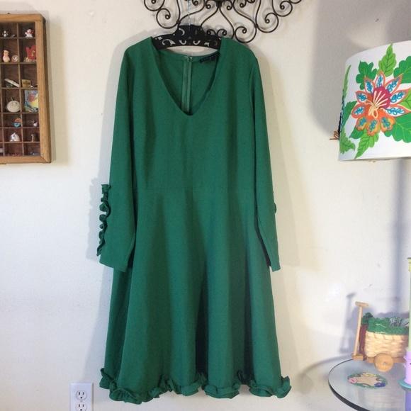 Ruffle Kelly Green Plus Size Dress